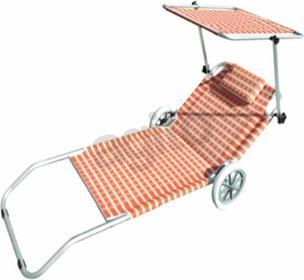 Siesta Design Leżak plażowy z kółkami pomarańczowy