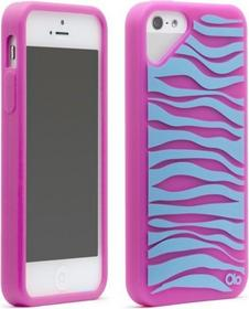 OLO Różowo-niebieskie Etui Zebra iPhone 5 5S