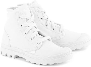 Palladium Pampa Hi - Białe Canvasowe Trapery Damskie - 92352154