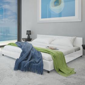 vidaXL Eleganckie łóżko z białej eko skóry 140 x 200 cm
