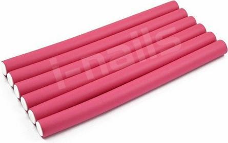 papiloty gumowe wałki do włosów 240x18mm 6szt - różowe