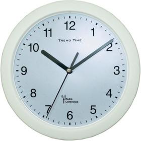 Zegar ścienny analogowy radiowy 25 cm x 3 8 cm biały