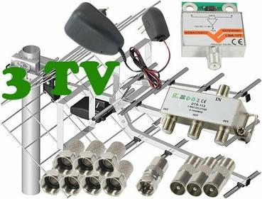 Zestaw antenowy dla 3 TV: 17/21-69 TRI DIGIT MINI + wzmacniacz LNA-177 + zasilac