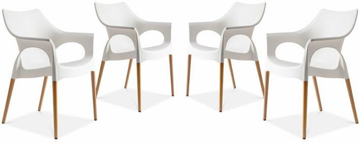 Beliani Krzeslo - komplet 4-czesciowy - naturalny bialy - NATURAL OLA