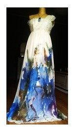 DaWanda.pl piękna malowana sukienka wielokolorowe akwarela 85275527 female