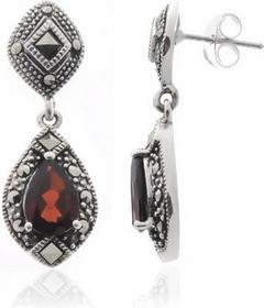 AnKa Biżuteria Srebrne kolczyki z granatami i markazytami