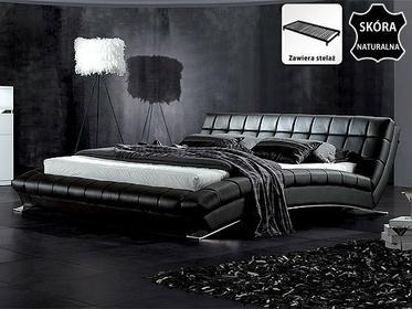 Beliani Nowoczesne skórzane łóżko 180x200 cm ze stelazem LILLE czarny