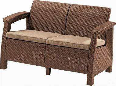 Curver Meble ogrodowe sofa 2-osobowa CORFU brąz