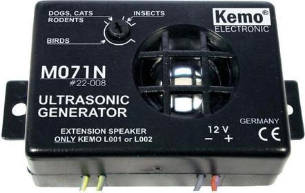 Ultradźwiękowy odstraszacz szkodników Kemo 8-40 kHz zasięg 40 m 100 dB 10-13.8 V
