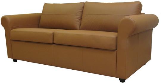 Klasyk Sofa rozkładana - skóra jasny brąz