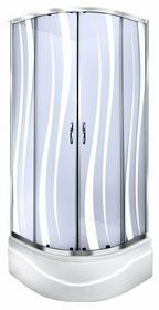 Durasan Parma Wave WK 90 90x90 szkło jasne wzór fala + brodzik + syfon