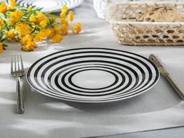 Altom Talerz płytki porcelana Czarno-Białe Kółka 23 cm dekoracja B