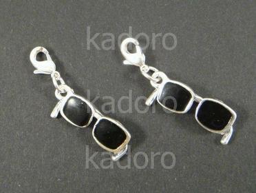 Zawieszka charm okulary czarne - 1 sztuka