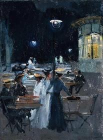 Wally Obraz Kawiarnia paryska w nocy - Ludwik De Laveaux