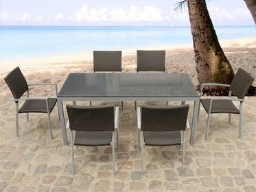 Beliani Meble ogrodowe granit i aluminium 6 krzesel komplet - stol 180 cm - TORI