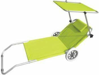 Siesta Design Leżak plażowy z kółkami limonka, jasny zielony