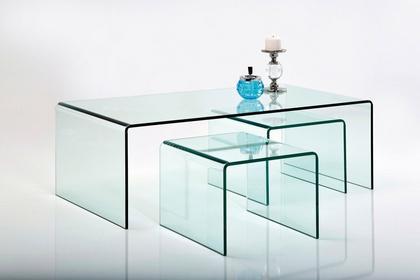 Kare Design Zestaw 3 Stolików Clear Club