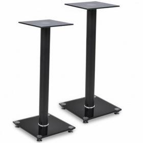2 szklane stojaki na głośniki każdy z czarnym filarem)