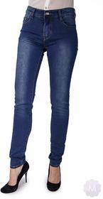 BS Damskie jeansy spodnie rurki z wyższym stanem niebieski (M3994)