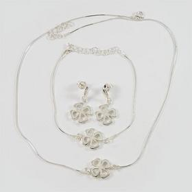 Komplet srebrny koniczynki kolczyki + bransoletka + naszyjnik (K21/0 B15/0 N23/0