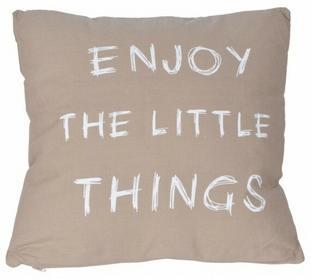 Poduszka beżowa z napisem 45x45 cm
