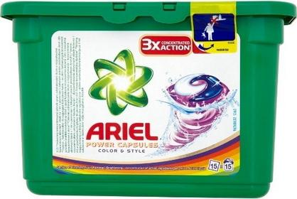 Ariel 432g Power Capsules Color&Style Kapsułki do prania (15 pr