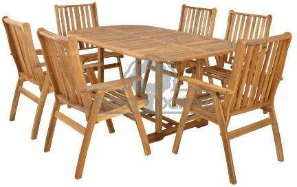 Hecht Meble Ogrodowe Rounded Set Stół + 6 Krzeseł Drewno 8595614904896