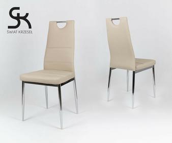 Świat Krzeseł KS017 BEŻOWE krzesło z ekoskóry na chromowanym stelażu KS017BE