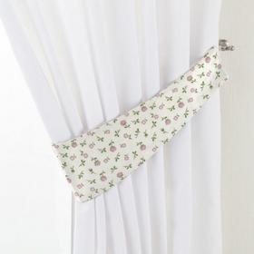 Dekoria Podwiązka Victoria, różowo-zielone kwiatuszki na jasnym tle, 12 x 70 cm,