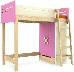 Timoore Łóżko piętrowe prawe - - Simple Pink T01-18R-P-B
