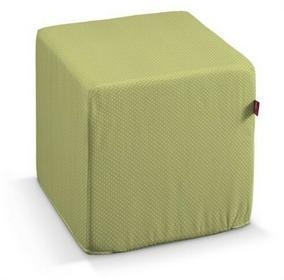 Dekoria Pokrowiec na pufę kostke Ashley zielona w kropeczki