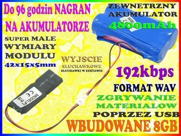 UKRYTY DYKTAFON CYFROWY 192kbps DO ZABUDOWY BATERIA 4800mAh + PAMIĘĆ 8GB Easy_ID:1MR0484