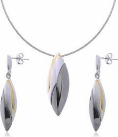 AnKa Biżuteria Komplet srebrny: rodowany rutenowany pozłacany