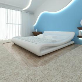 Białe Łóżko ze sztucznej skóry z materacem 140x200 cm zaokraglane