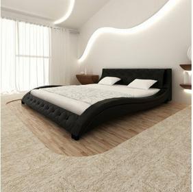 Skórzana rama łóżka (180x200 cm), czarna, fala