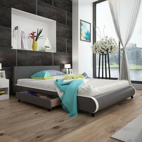 vidaXL Szare łóżko 140 x 200 cm ze sztucznej skóry z 2 szufladami