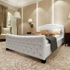 vidaXL Luksusowe łóżko 140x200 cm, sztuczna skóra, biała z połyskiem