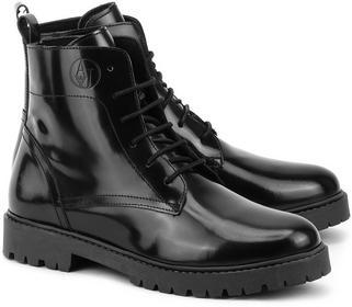 Armani Jeans Anfibio - czarny Skórzane Trapery Damskie - Z5594 12