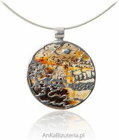 AnKa Biżuteria Oryginalna zawieszka srebrna z bursztynem Pejzaż wiejski