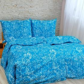 Kvalitex Pościel bawełna Gałązka niebieska, 200x200 cm, 2szt. 70 x 90 cm