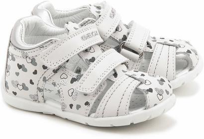Geox Baby Kaytan - Białe Skórzane Sandały Dziecięce - B5251G 00043 C0007