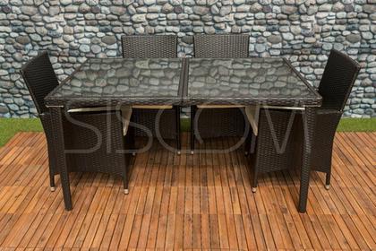 Furnide Komplet mebli z technorattanu, stół + 6 krzeseł