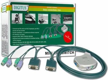 Digitus Mini przełącznik KVM - elektroniczny, 2PC, PS/2,1920 x 1440, 1,2m DC OC12