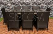 Furnide Komplet mebli z technorattanu, stół + 8 krzeseł