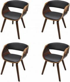 Krzesła jadalniane, drewniana rama, Brąz, skóra (x4)