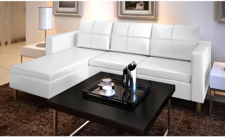vidaXL Sofa z biaej sztucznej skry 3 osobowa L