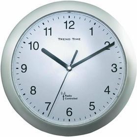 Zegar ścienny analogowy radiowy 25 cm x 3 8 cm srebrny
