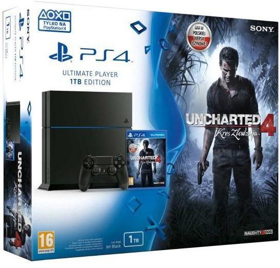 Sony PlayStation 4 1TB Czarny + Uncharted 4 A Thiefs End