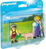 Playmobil Wiejska kobieta z dzieckiem i świnką 5514