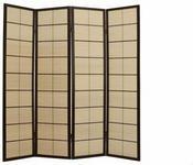 Snet Drewniany, piękny, japoński Parawan 4 segmenty ciemne drzewo bambus